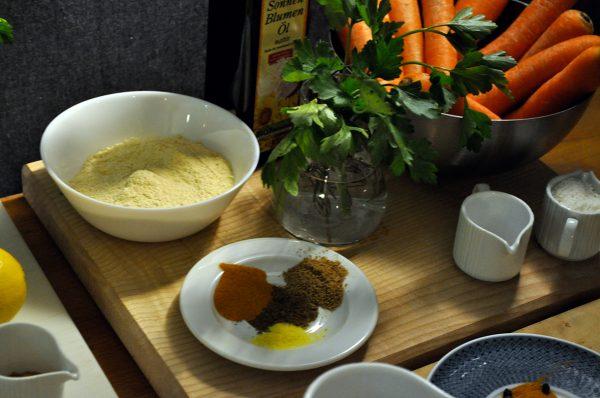 Zutaten für die Karotten-Kokos-Laibchen